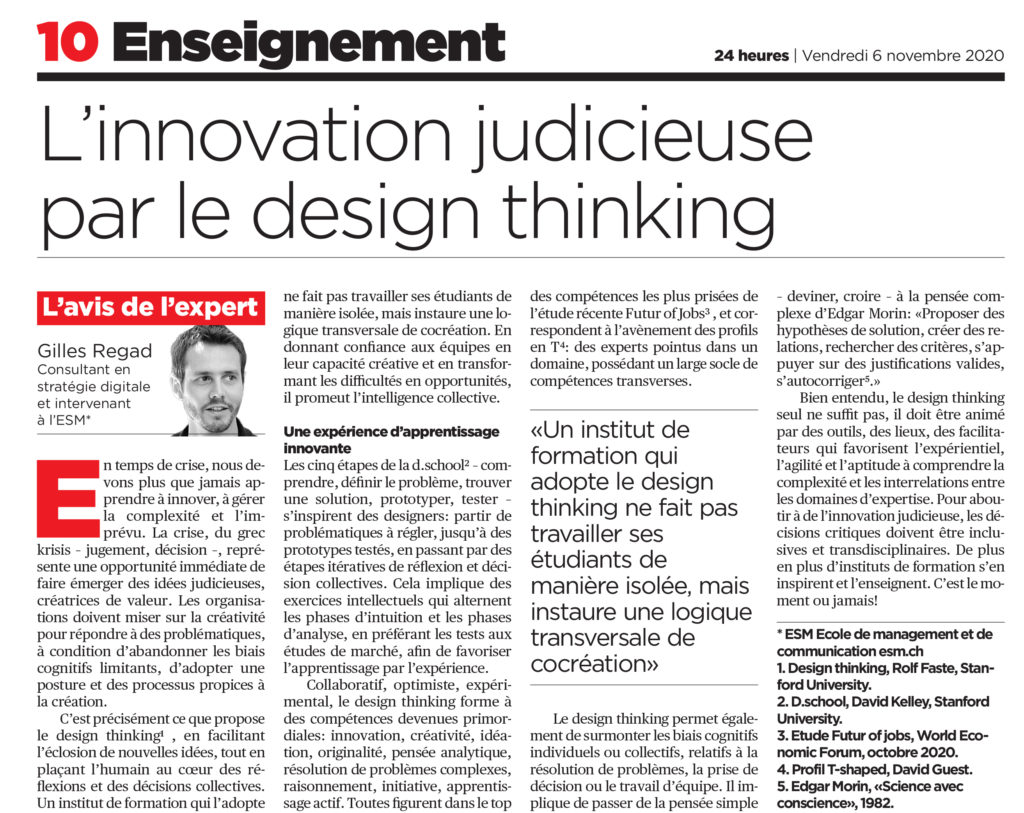 ESM - 24H Avis Expert - L'innovation judicieuse par le design thinking - Gilles Regad