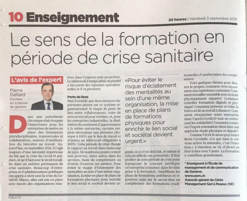ESM - 24H Avis Expert - Le sens de la formation en période de crise sanitaire - Pierre Gallard