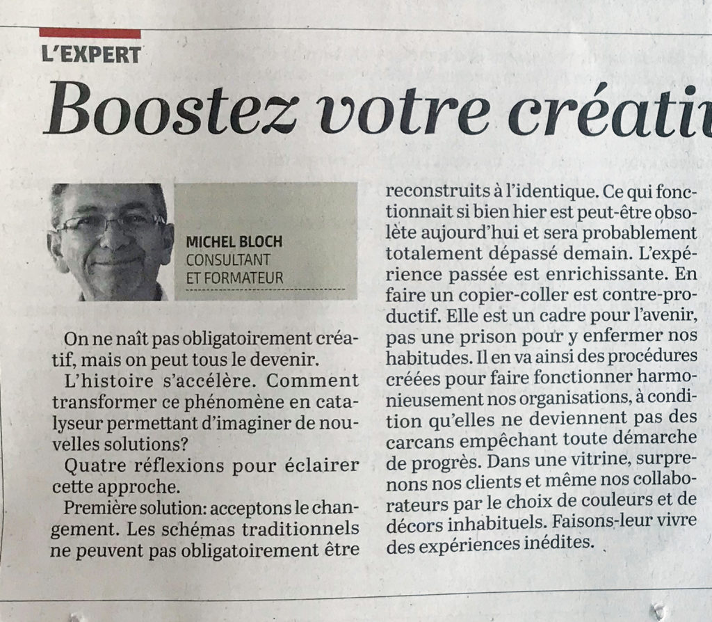 ESM Article Le Temps Michel Bloch Boostez Votre Creativite 17092021