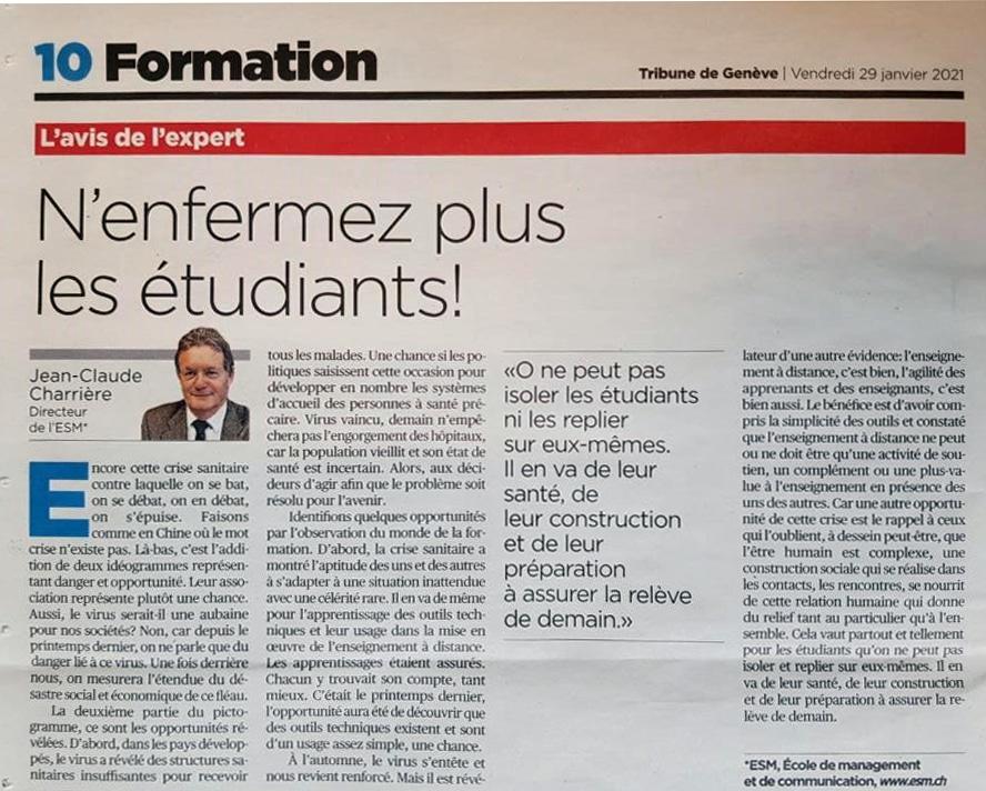 ESM - TdG - Avis Expert -N'enfermez plus les étudiants - JC Charrière