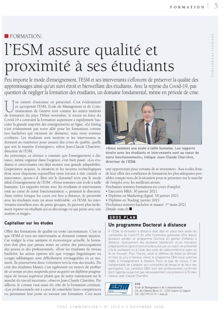 ESM - Tout l'Emploi - Formation: l'ESM assure qualité et proximité à ses étudiants - 9 novembre 2020