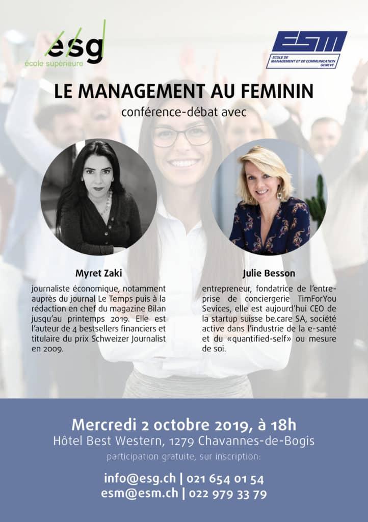 Invitation conference ESG ESM Management au feminin